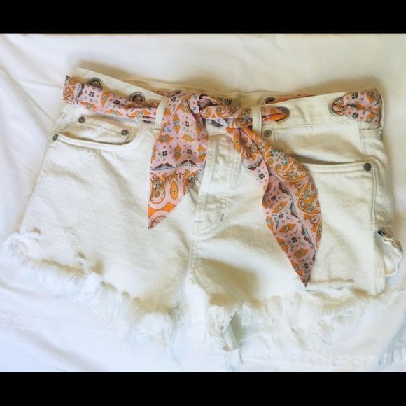 Free People Pants - Free People White denim distressed shorts 29